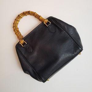 Vintage Pantera Bamboo Handle Navy Handbag